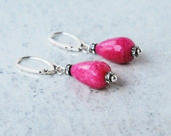 Pink Jade Earrings, Fuchsia Jade Earrings, Jadeite Earrings, Drop Dangle Earrings, Jade Earrings, Drop Jade Earrings, Silver Jade Earrings