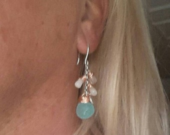 Sterling Silver earrings with aqua blue chalcedony and Moonstone drop