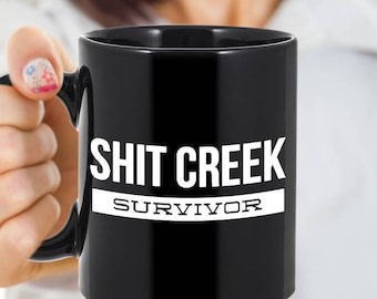 Recovery Gifts - Profane Mug - Sobriety Gift - Shit Creek Survivor Funny Coffee Mug Ceramic Tea Cup