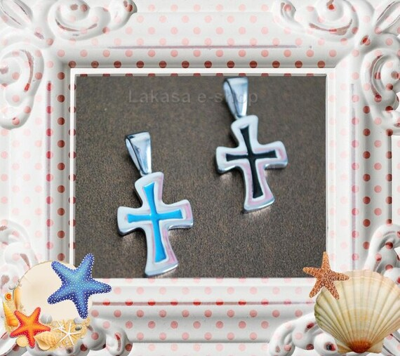 Pendant Enamel Cross Sterling Silver Jewelry Fine Greek Art Gift Summer Christian Religious Mama Baptism Baby Boy Kids Collection Man Unisex