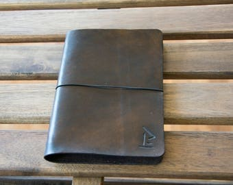 Leather cover notebook, midori style journal, handmade