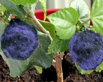 Earrings  Woollen flower shade Blue night