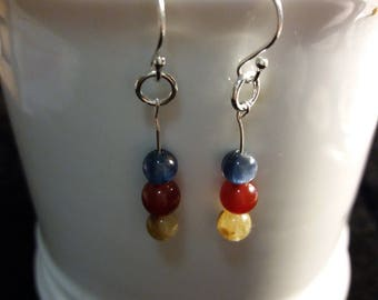 Three Wishes 925S Sterling Silver Earrings with Three Natural Stones (Gold Rutilated Quartz, Kyanite and Red Agate)