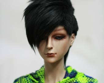 BJD Wig Mohican Short Black 9-10 8-9 7-8 6-7 inch Synthetic Fur Wig