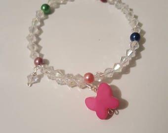 Wrap around memory wire bracelet/girls/children/pink butterfly