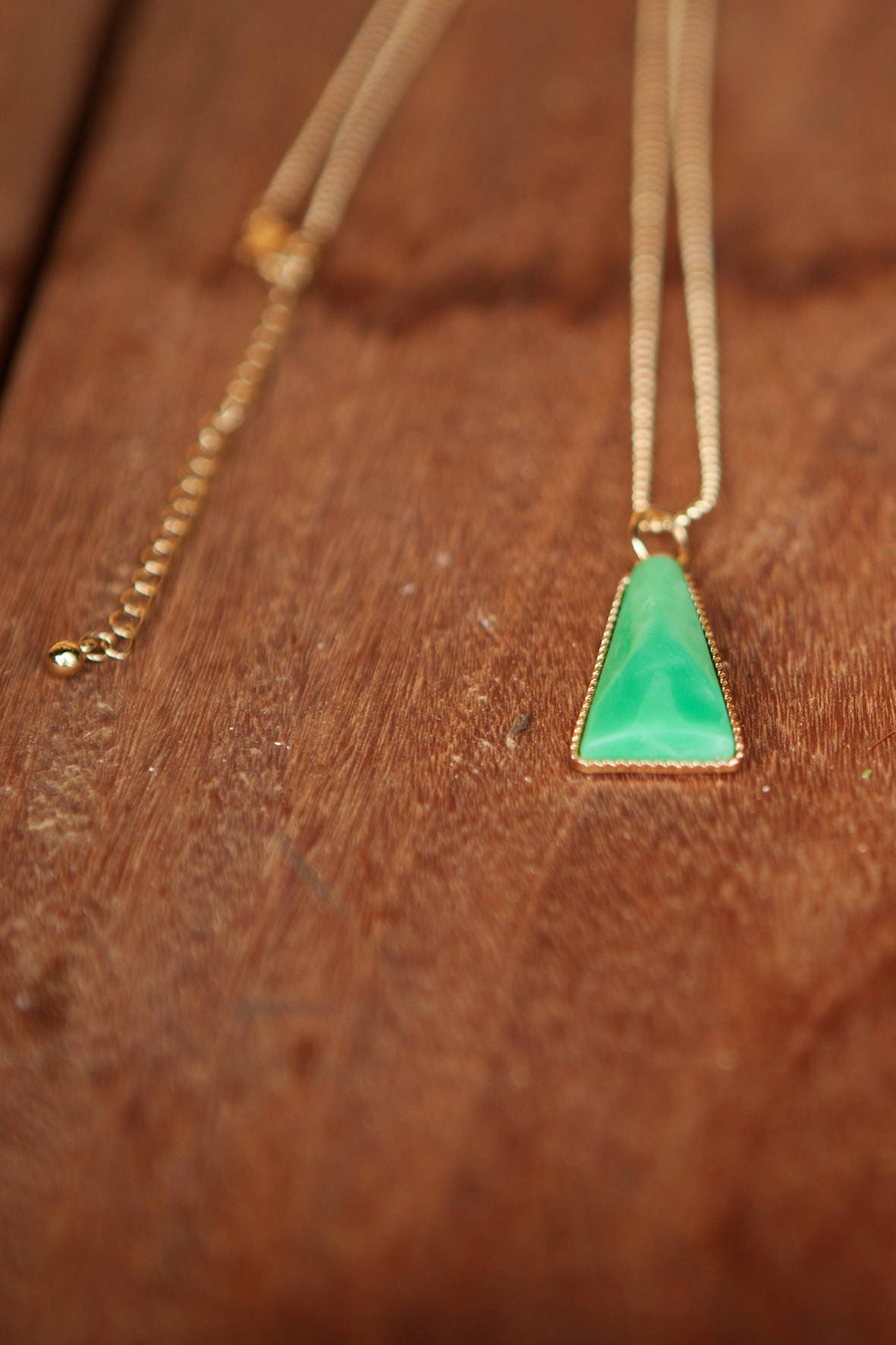 Gold long necklace dainty necklace simple gold necklace gold long necklace dainty necklace simple gold necklace triangular necklace green pendant aloadofball Images