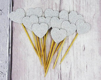 Silver glitter heart cupcake toppers, Scalloped heart cake picks, Birthday party, Wedding, New baby shower, Colours: gold, blue, green, pink