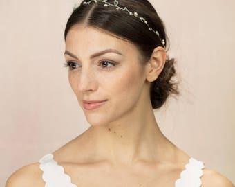 Rockham Garland - Freshwater pearl and Swarovski crystal bridal hair vine or halo in blush and grey