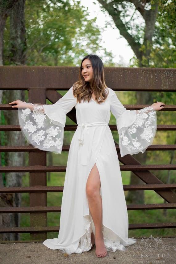 Bohemian Wrap Wedding Dress Rustic Wrap Wedding Dress