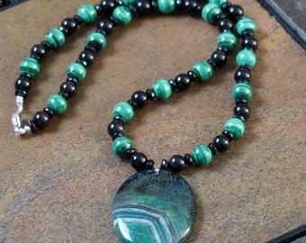 Malachite, Faceted Black Onyx and Rainbow Obidian Necklace
