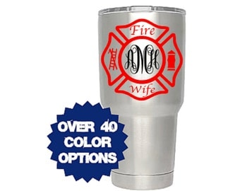 Firefighter Wife Decal, Monogram Decal, Wife Decal, Fireman Wife, Firefighter Wife, Fire Department Decal, Fire Wife, Monogrammed Decal