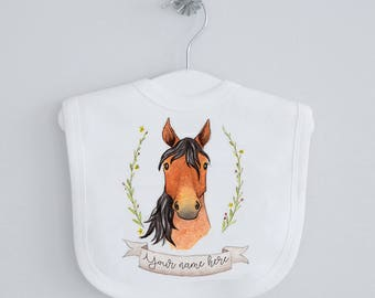 Horse baby bib - personalised bib, dribble bib, drool bib, watercolour horse, Equestrian baby clothes, country, farm animal, babyshower gift