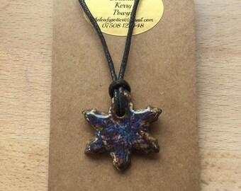 Ceramic Snowflake Necklace (NK71)