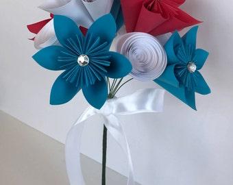 Medium Patriotic Origami Flower Bouquet/Red/White/Blue/Centerpiece/Independence Day Decorations/Kusudama Flower/Paper Art/Bouquet/Handmade