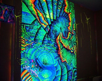 """Psy Вackdrop """"Life"""" blacklight UV active Fluorescent Wall hanging Deco Psytrance psychedelic tapestry tryppy art festival banner"""