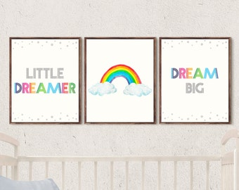 nursery prints set of 3 rainbow nursery wall art little dreamer dream big printable art download rainbow baby room decor kids wall art quote