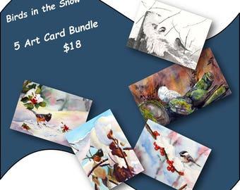 Birds in the Snow Card Set//Greeting Cards//note card//Bird Art//Bird Lovers Cards