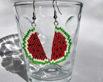 Watermelon earrings, Fruit earrings, Dangle earrings, Summer earrings, Food earrings, Summer jewelry, Brick stitch, Beaded, Handmade, Gift