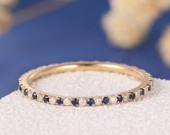 Sapphire Wedding Band Unique Stacking Ring Bridal Ring Eternity September Birthstone Mini Thin Diamond Band Women Gold Anniversary Promise
