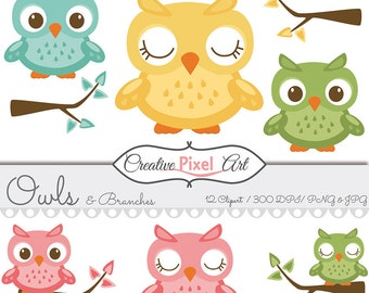 Owls  and Branches Clipart  , Colorful Owls  , PNG  and JPG , Download Clipart