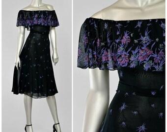 Black Chiffon Dress, 70s Party Dress, 30s Style Dress, Black Floral Dress, Off Shoulder Dress, 1970s Dress, Ruffled Dress, Vintage 70s Dress