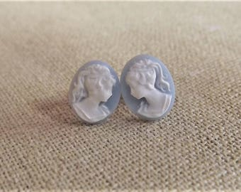 Light Blue Lady Cameo Earrings - Victorian Cameo Studs - Wedgewood blue color cameo - Antique Styled cameo - Victorian Lady Cameo posts