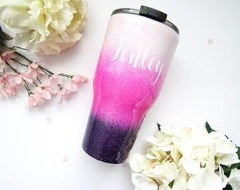 Blush Pink and Purple Ombre Glitter Tumbler - Glitter Tumbler - Ombre Tumbler - Ombre Glitter Tumbler - Personalized Yeti - Glitter Yeti