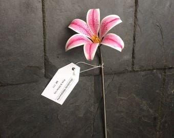 Pink stargazer lily, steel lily, pink steel stargazer. wedding lily, painted steel flower, everlasting steel lily, metal stargazer lily