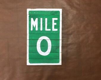 Mile marker zero sign, key west sign, key west art, US1 art, coastal decor, beach house art, tiki bar art