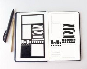 Planner Stencil, bullet journal stencil, pochoir bullet journal, journal stencils, bullet journal accessories, hobonichi stencil, stencil a5