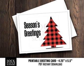 Printable Card, Christmas Card PDF,  Buffalo Plaid Pine Tree Card, DIY Card Kit, Seasons Greetings Card with diy Envelope, SKU RGC133