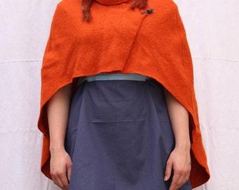 Orange wool LARP medieval cape - One-Size