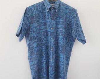 Reyn Spooner men's Hawaiian shirt - blue, medium