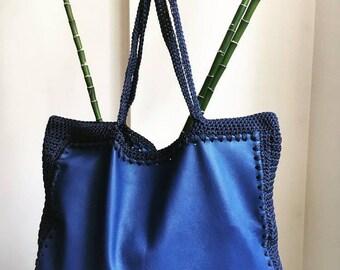 Blue Leather Shoulder Bag/ Leather Handbag/ Tote Bag/ Blue Cord Bag/ Handmade Bag