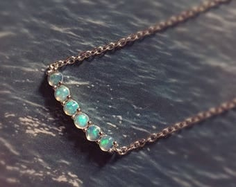 Real Opal necklace, Sterling Silver, Genuine Opal, October Birthstone,Tiny Necklace, Daily wear, Choker Necklace