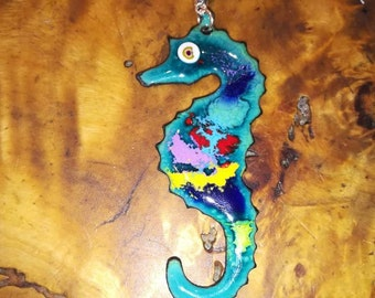 Large seahorse in enamels on copper necklace