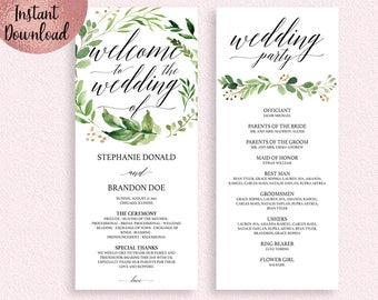 Green Leaves Wedding Program Template, Printable 4x9 Wedding Party Program, Flat Ceremony Template, Editable 4x9 PDF file, Digital Download