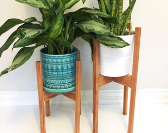 Large Mid Century Modern Plant Stand Square Legs Oak Wood