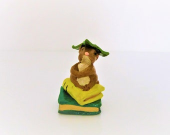 Handmade clay sculpture pencil-holder, hand-sculpted and hand-painted, miniature brown field mouse sculpture on miniature book sculptures