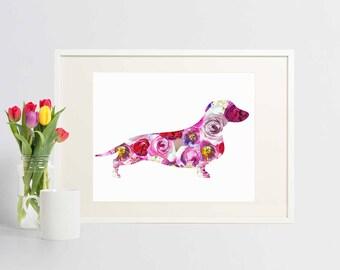 Dachshund Art - Dachshund Print - Instant Download - Sausage Dog Print - Doxie Art - Pink Flowers