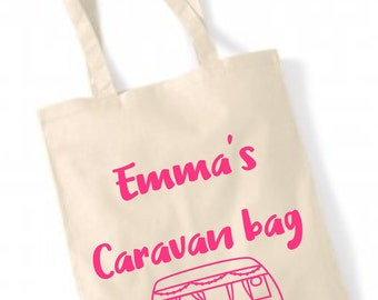 Personalised caravan bag, Personalized bag, Camper, holiday, vacation ,beach , shopper , tote bag , bag for life , natural , gift ,
