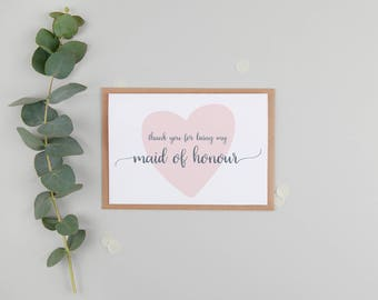 Thank You For Being My Maid Of Honour Card - Maid of Honour Card - Thank You Wedding Card - Cute Maid of Honour Card