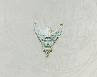 Greek Revival Winged God White Distressed Paint Brass Stamping