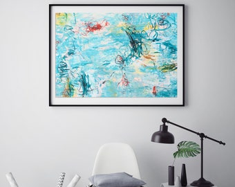 Original Abstract Painting Wall Art Modern Art Contemporary Home Decor Acrylic Mixed Media Blue Painting Green Turquoise,