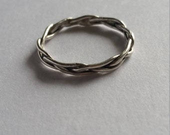 Sterling Silver Braided Stackable Ring