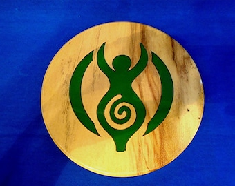 Handmade & Hand-Painted  Wooden  Wall Plaque with  *The Earth Mother/Goddess*   will look lovely hanging on a wall in any room.
