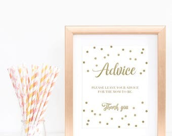 Neutral Baby Shower Advice Game Sign Words of Advice Sign Baby Party Advice for Parents to Be Mom to Be Gold Baby Shower Games Printable GCO