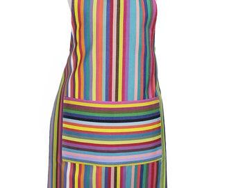 Colorful striped apron - artisan French cotton