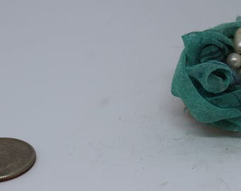Blue rose tsumami brooch with pearl accent
