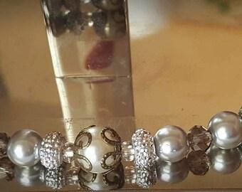 Gray Classy Pearl Beaded Bracelet w/matching Earrings